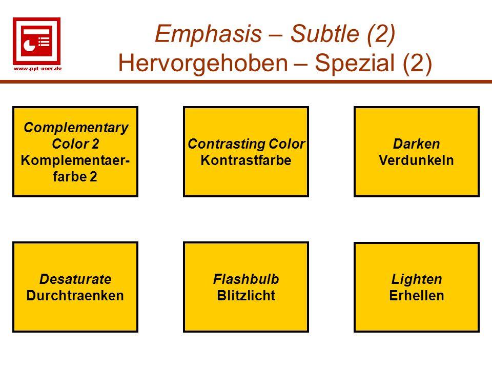 Emphasis – Subtle (2) Hervorgehoben – Spezial (2)