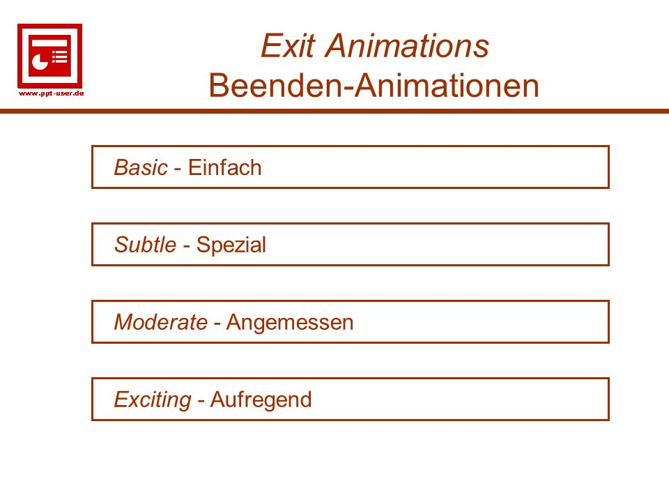 Exit Animations Beenden-Animationen