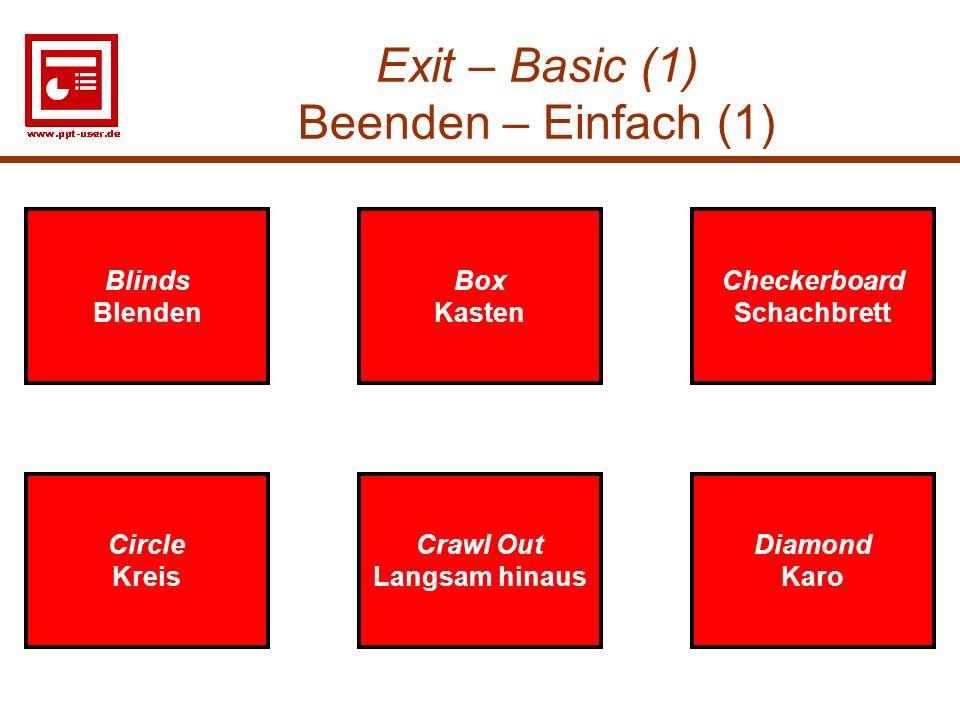 Exit – Basic (1) Beenden – Einfach (1)
