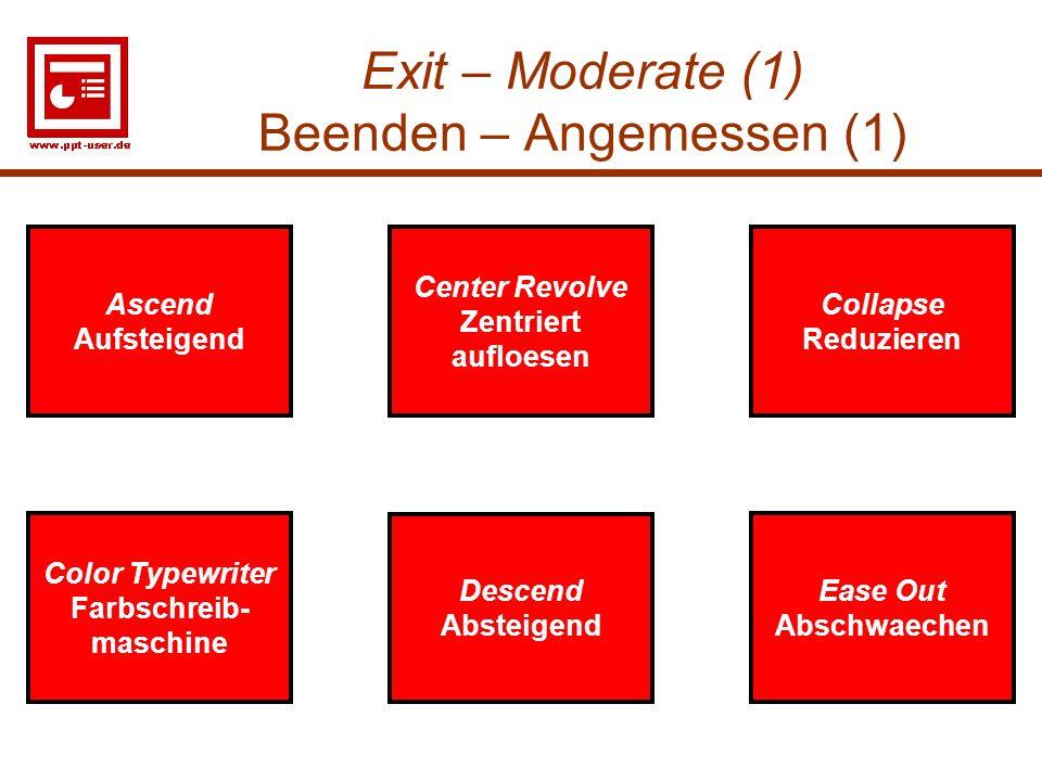 Exit – Moderate (1) Beenden – Angemessen (1)