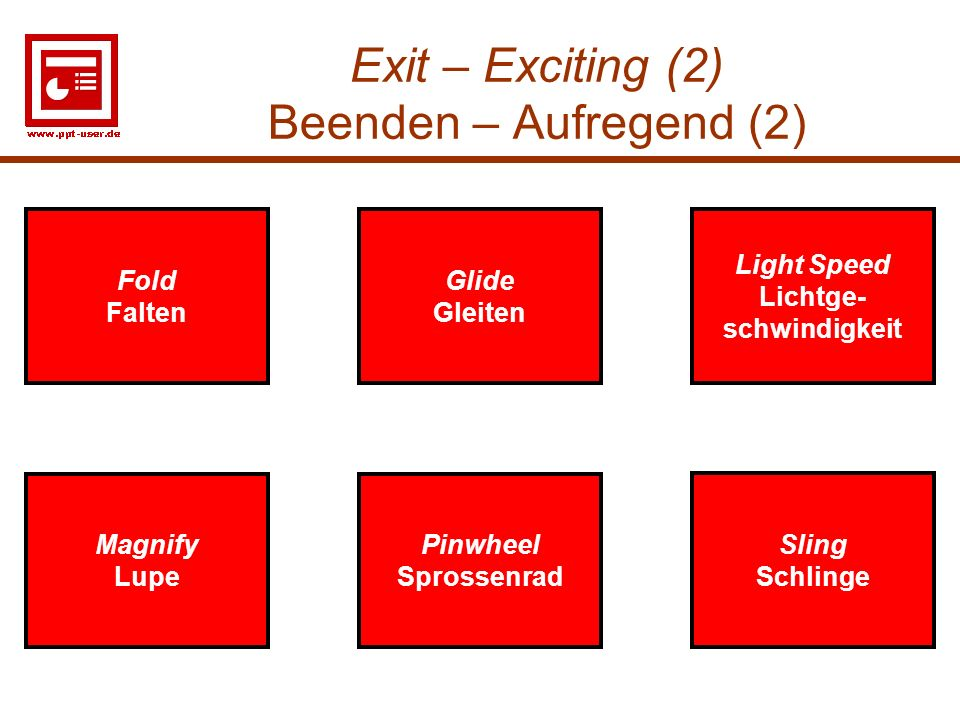 Exit – Exciting (2) Beenden – Aufregend (2)