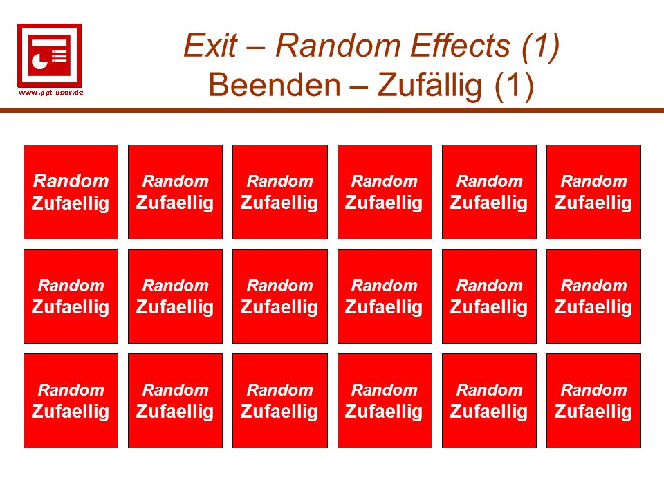 Exit – Random Effects (1) Beenden – Zufällig (1)