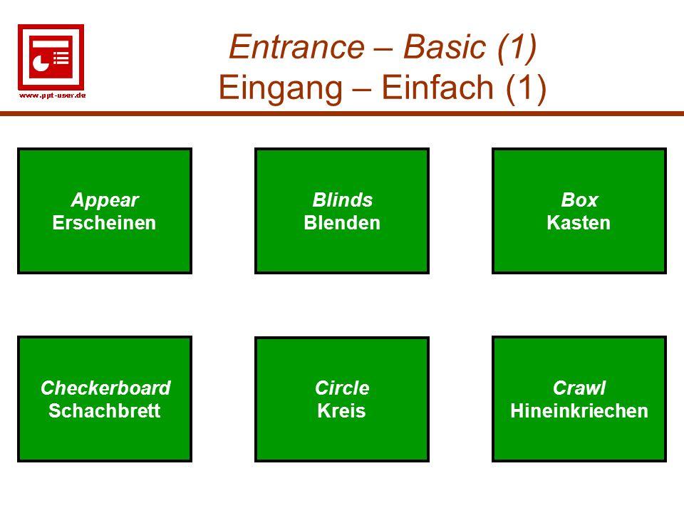 Entrance – Basic (1) Eingang – Einfach (1)
