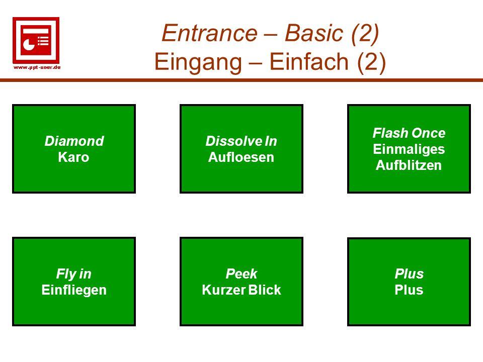Entrance – Basic (2) Eingang – Einfach (2)