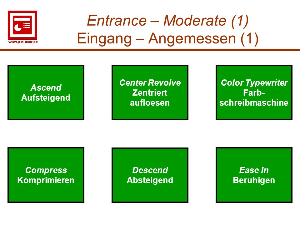 Entrance – Moderate (1) Eingang – Angemessen (1)