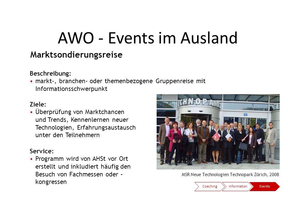 AWO - Events im Ausland Marktsondierungsreise Beispiele: Beschreibung: