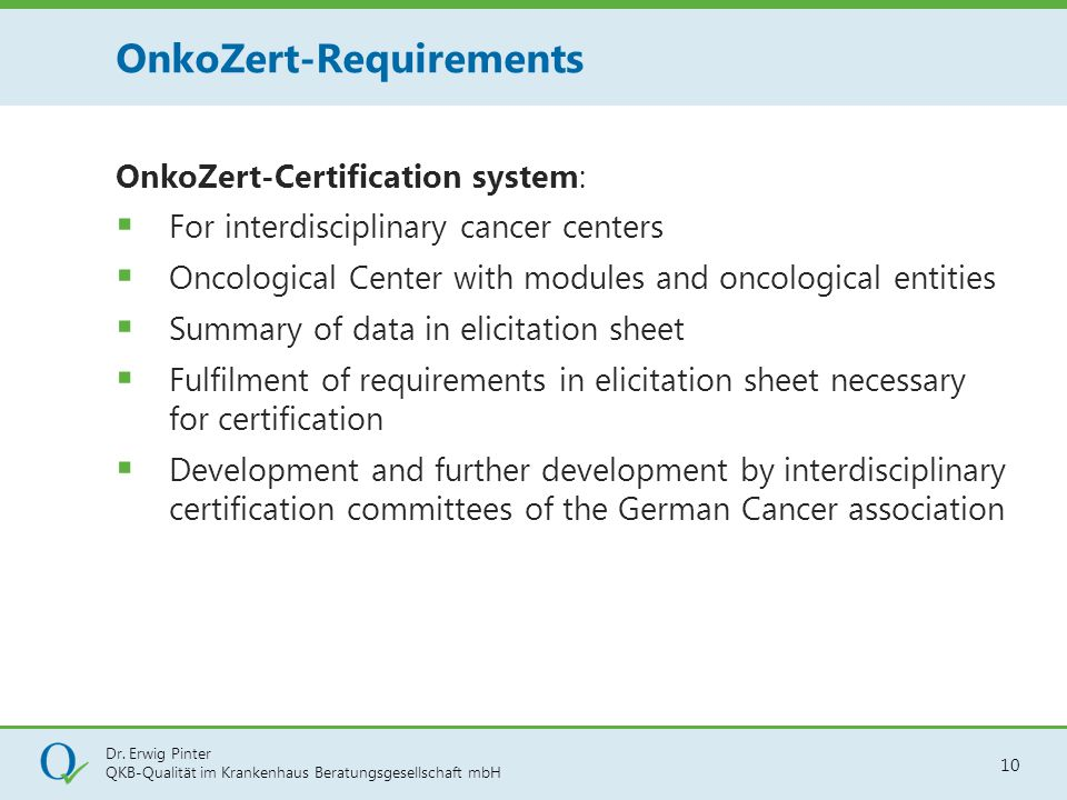 OnkoZert-Requirements