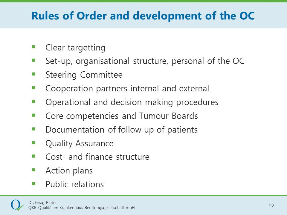 Rules of Order and development of the OC