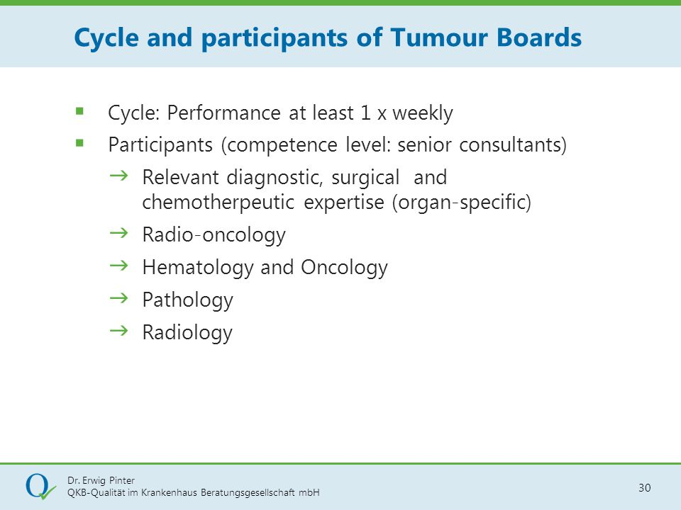 Cycle and participants of Tumour Boards