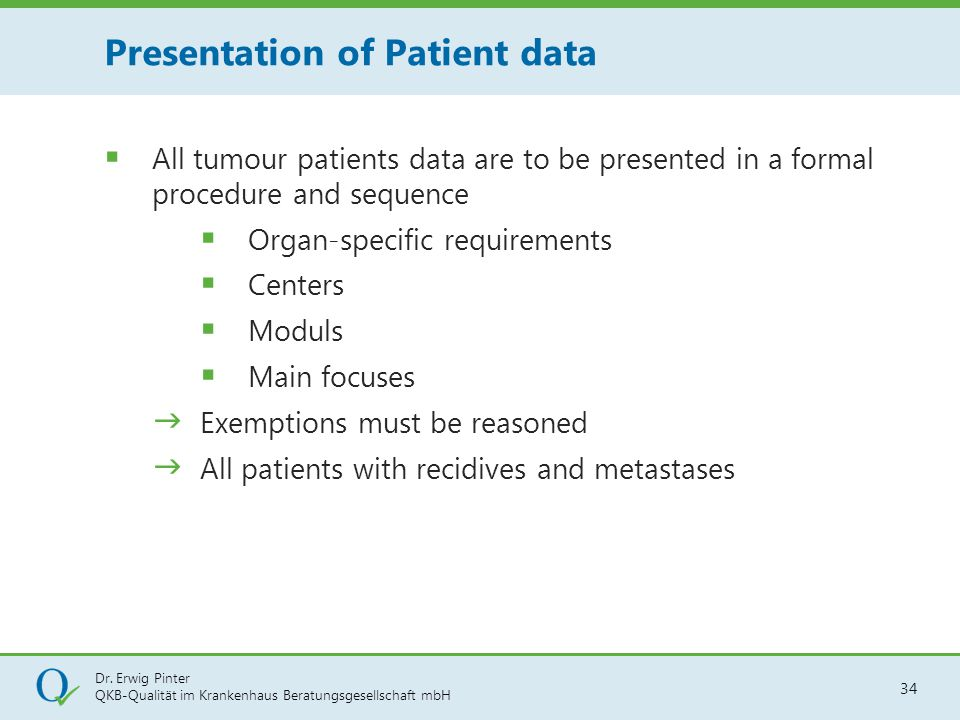 Presentation of Patient data
