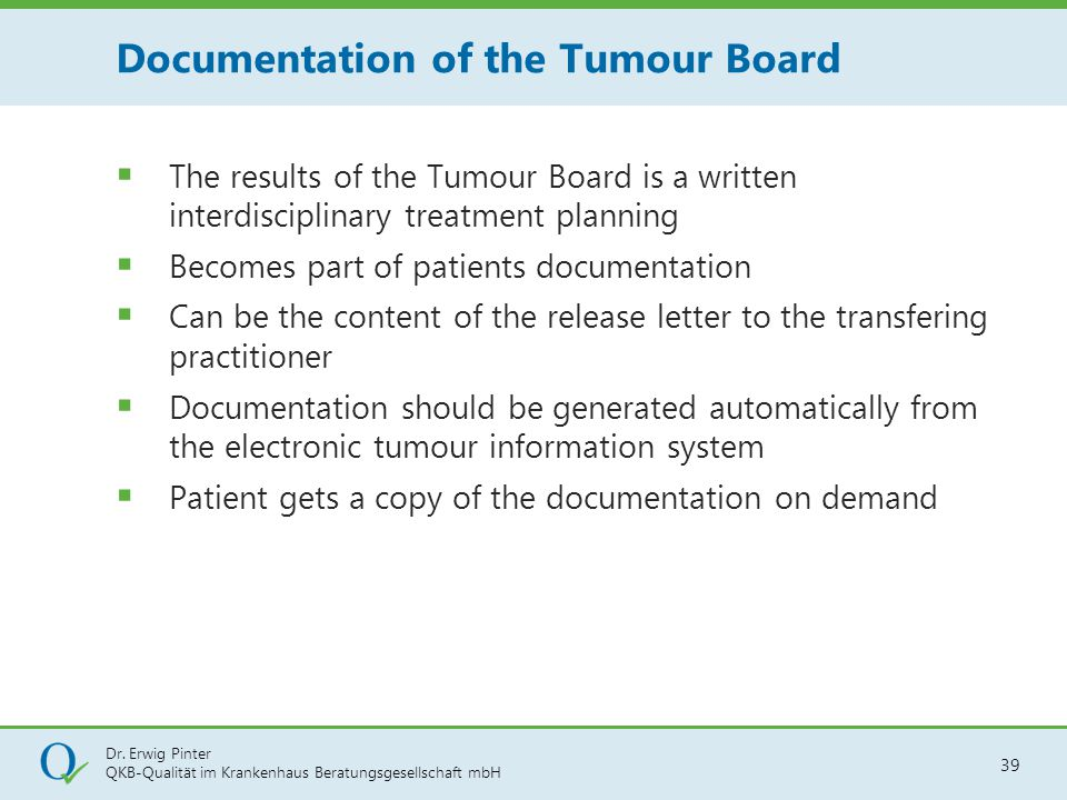 Documentation of the Tumour Board