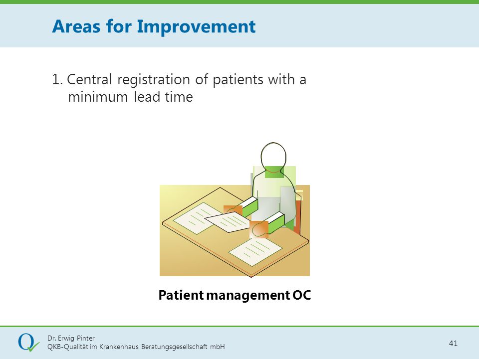Areas for Improvement 1. Central registration of patients with a minimum lead time.