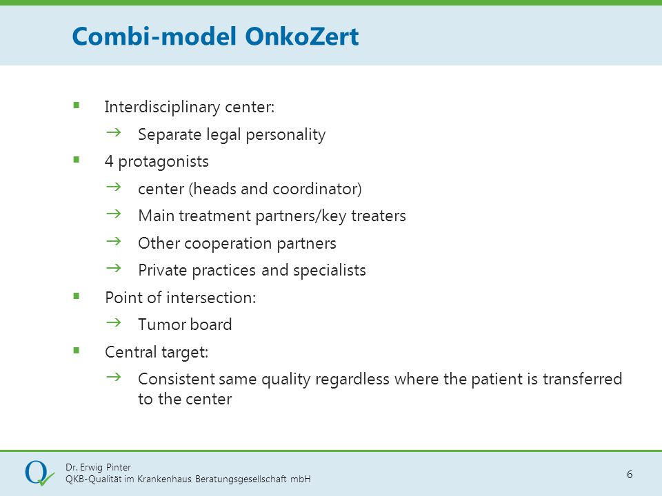 Combi-model OnkoZert Interdisciplinary center: