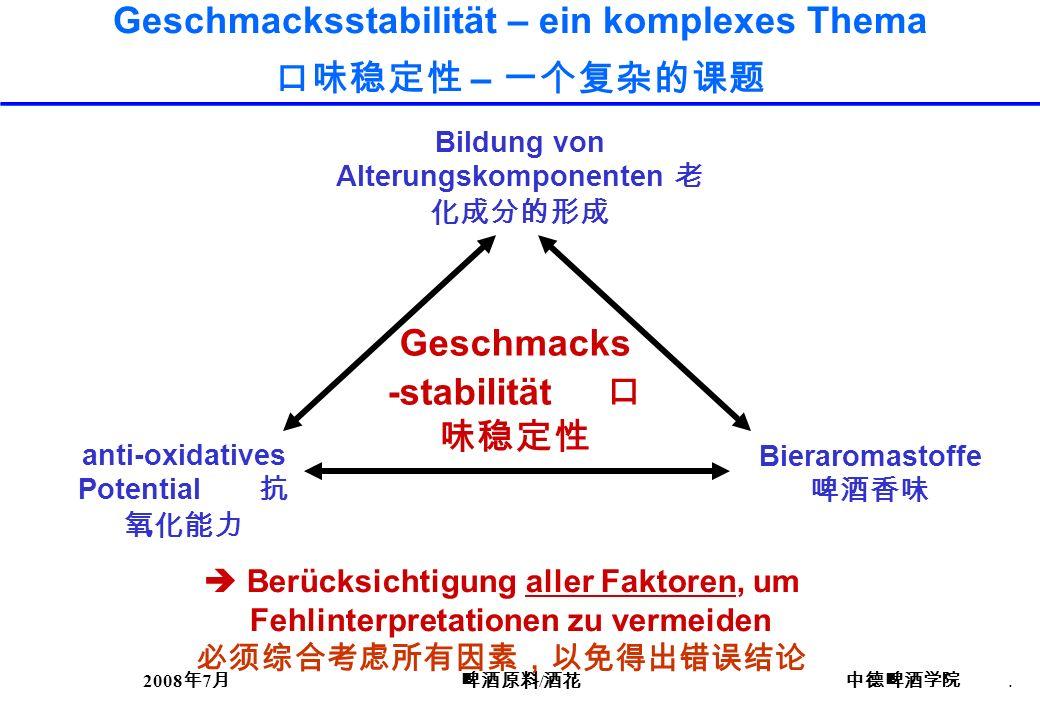 Geschmacksstabilität – ein komplexes Thema 口味稳定性 – 一个复杂的课题