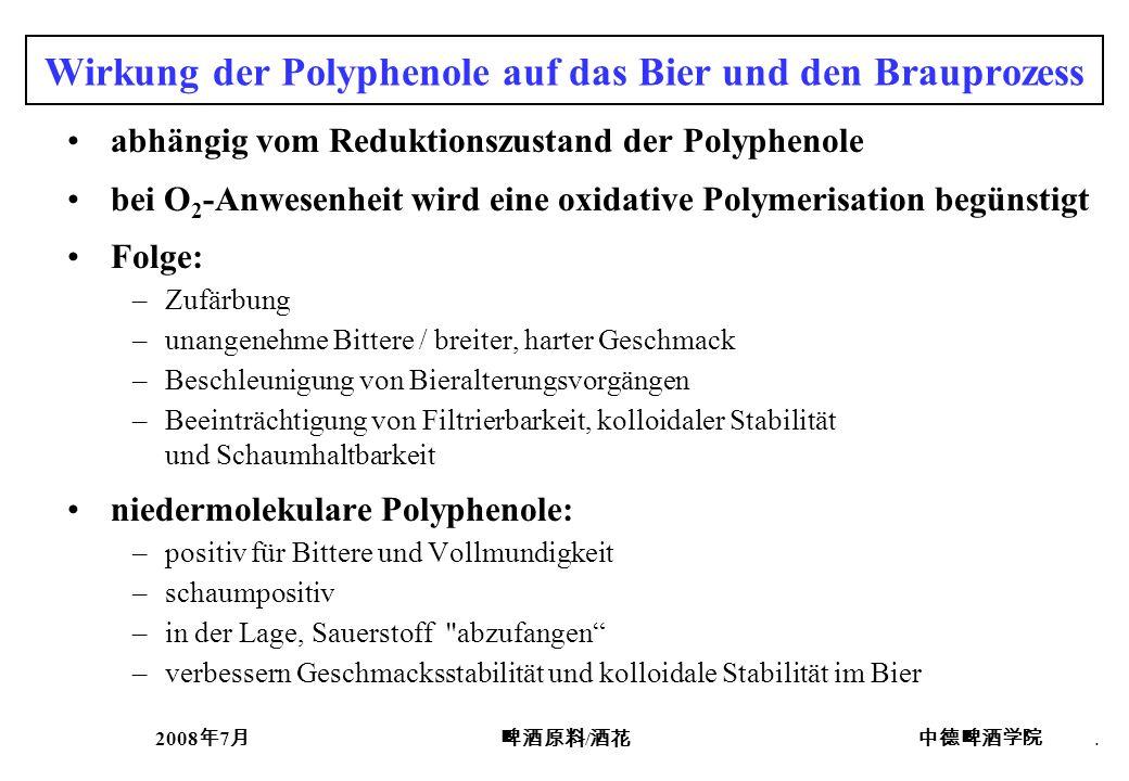 Wirkung der Polyphenole auf das Bier und den Brauprozess