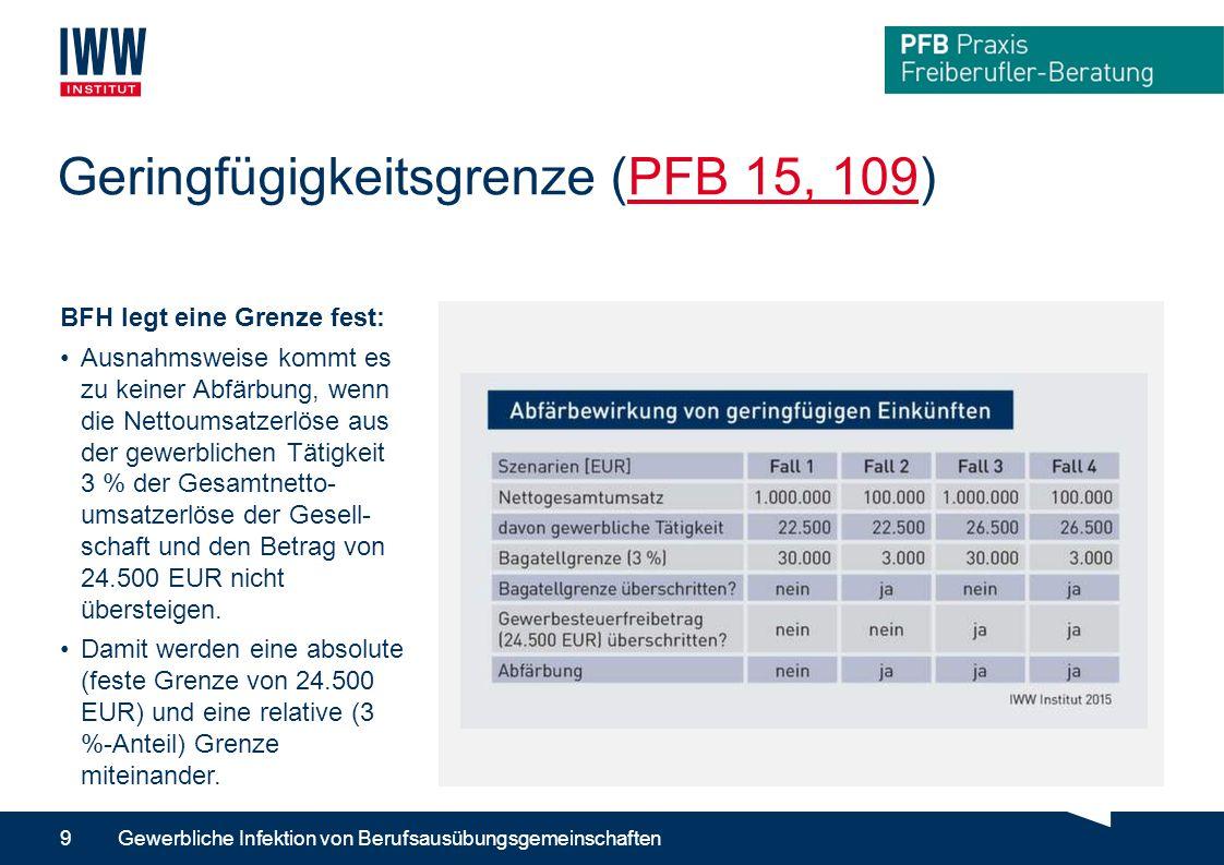 Geringfügigkeitsgrenze (PFB 15, 109)