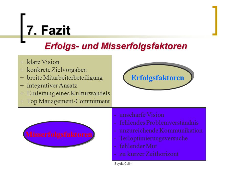 Erfolgs- und Misserfolgsfaktoren
