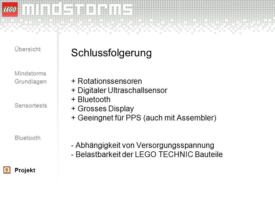 Schlussfolgerung + Rotationssensoren + Digitaler Ultraschallsensor