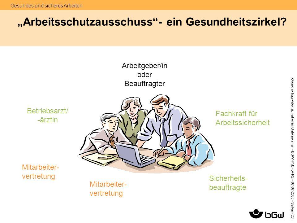 """""""Arbeitsschutzausschuss - ein Gesundheitszirkel"""