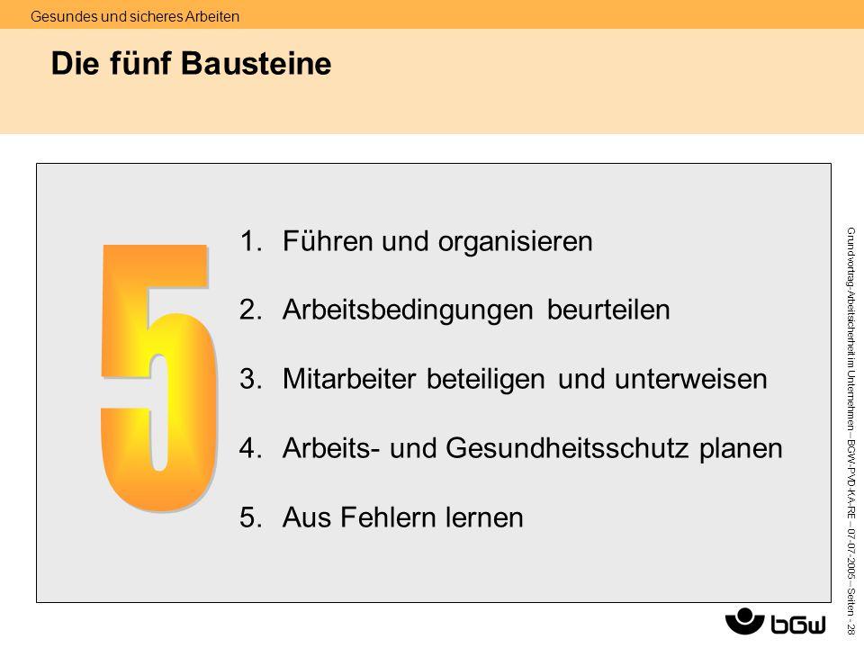5 Die fünf Bausteine Führen und organisieren