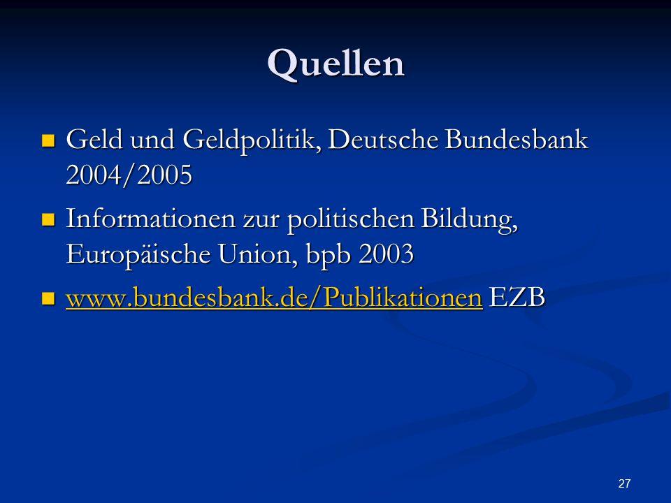 Quellen Geld und Geldpolitik, Deutsche Bundesbank 2004/2005