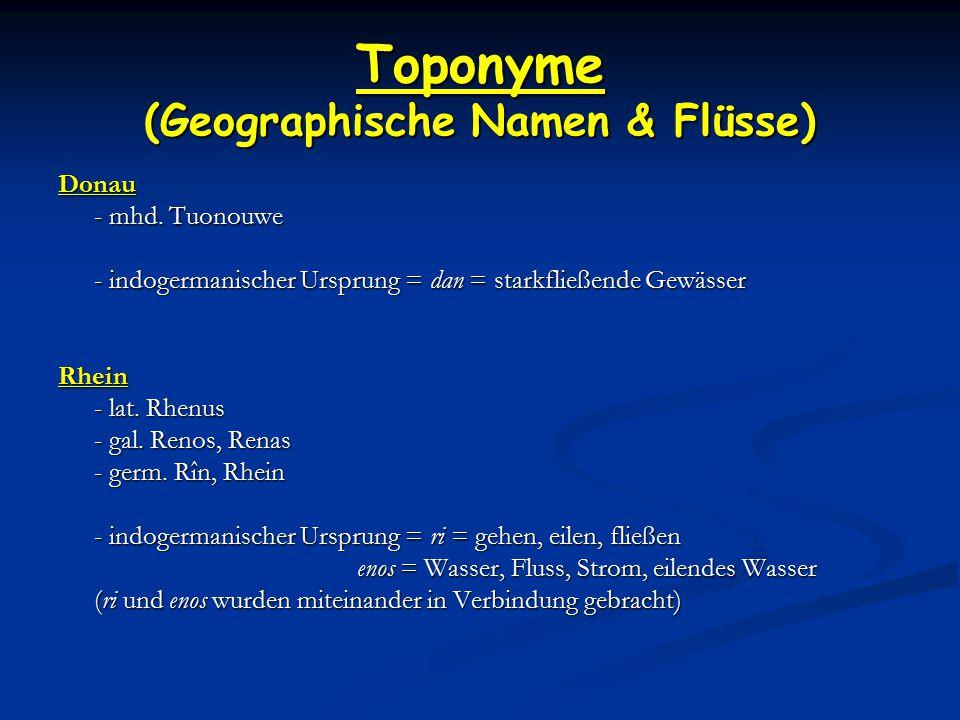 Toponyme (Geographische Namen & Flüsse)