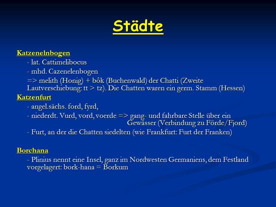 Städte Katzenelnbogen - lat. Cattimelibocus - mhd. Cazenelenbogen