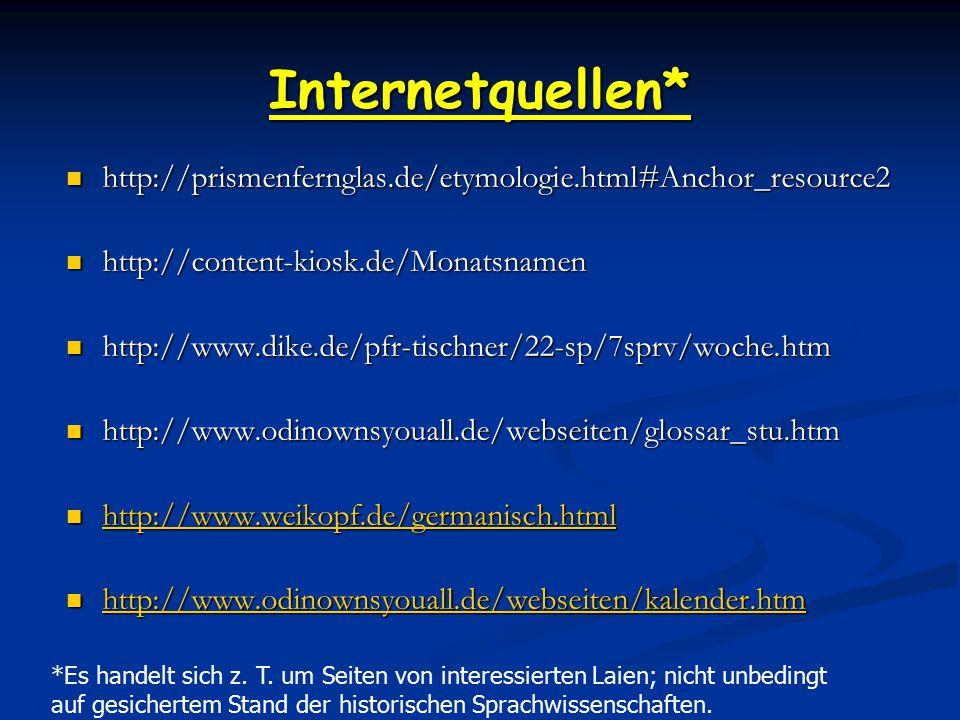 Internetquellen* http://prismenfernglas.de/etymologie.html#Anchor_resource2. http://content-kiosk.de/Monatsnamen.