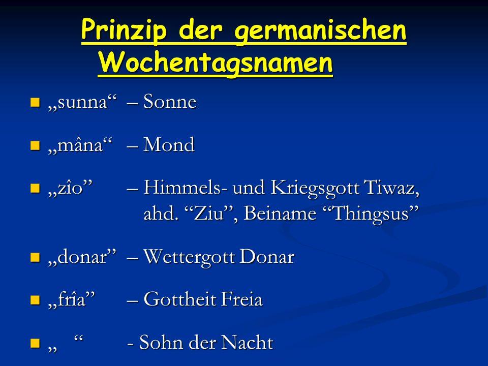 Prinzip der germanischen Wochentagsnamen