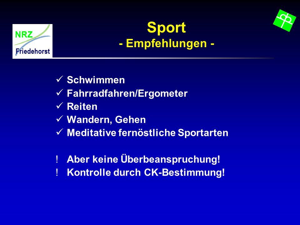 Sport - Empfehlungen - Schwimmen Fahrradfahren/Ergometer Reiten