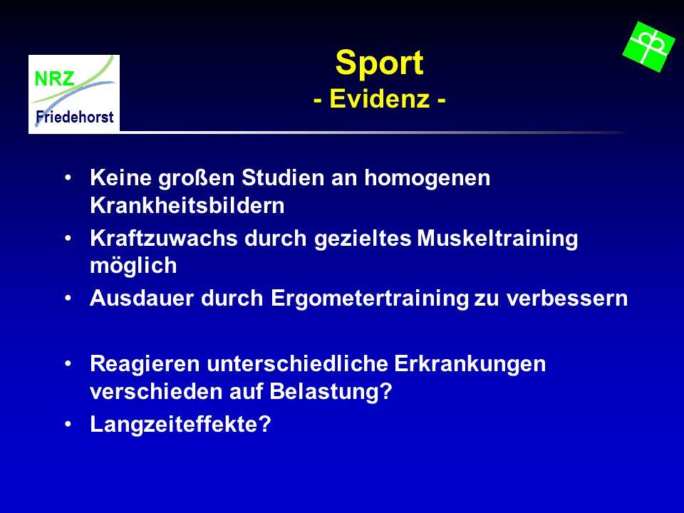 Sport - Evidenz - Keine großen Studien an homogenen Krankheitsbildern