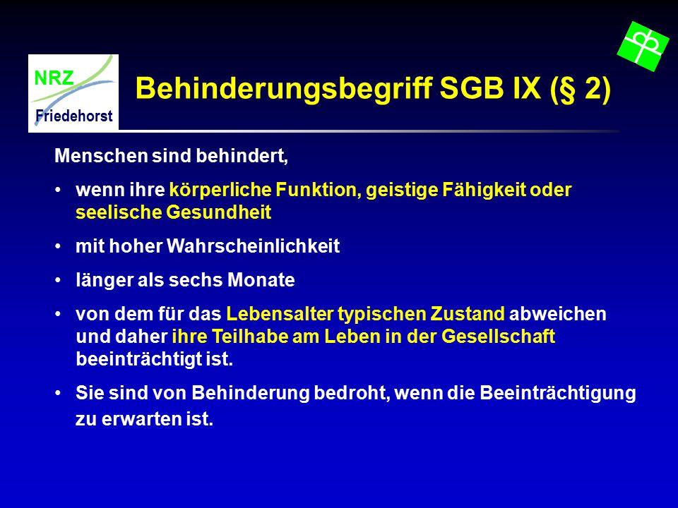 Behinderungsbegriff SGB IX (§ 2)