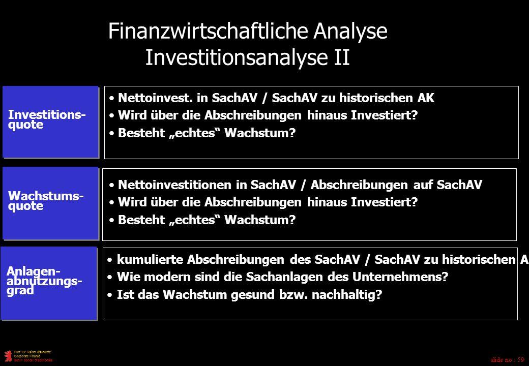 Finanzwirtschaftliche Analyse Investitionsanalyse II