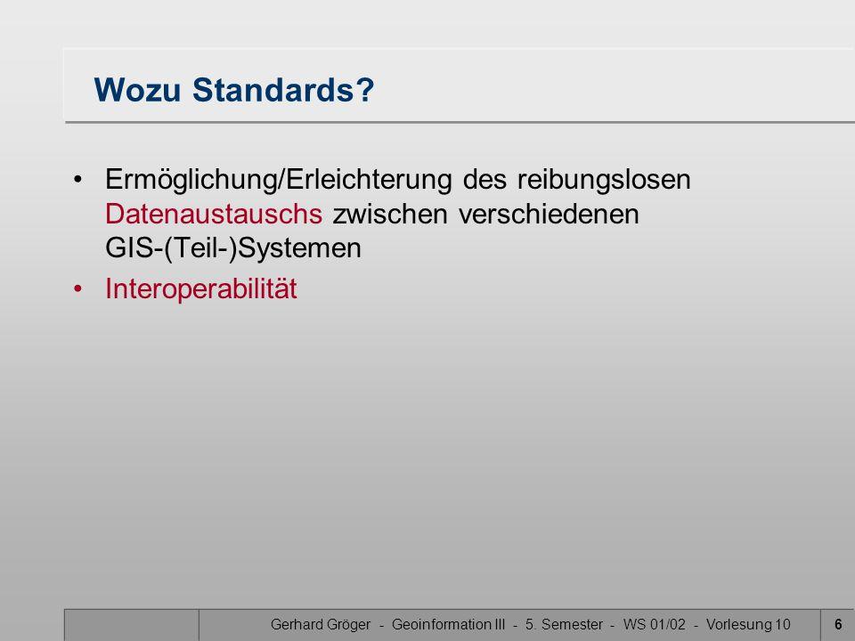 Wozu Standards Ermöglichung/Erleichterung des reibungslosen Datenaustauschs zwischen verschiedenen GIS-(Teil-)Systemen.