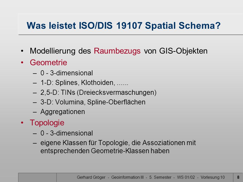 Was leistet ISO/DIS 19107 Spatial Schema