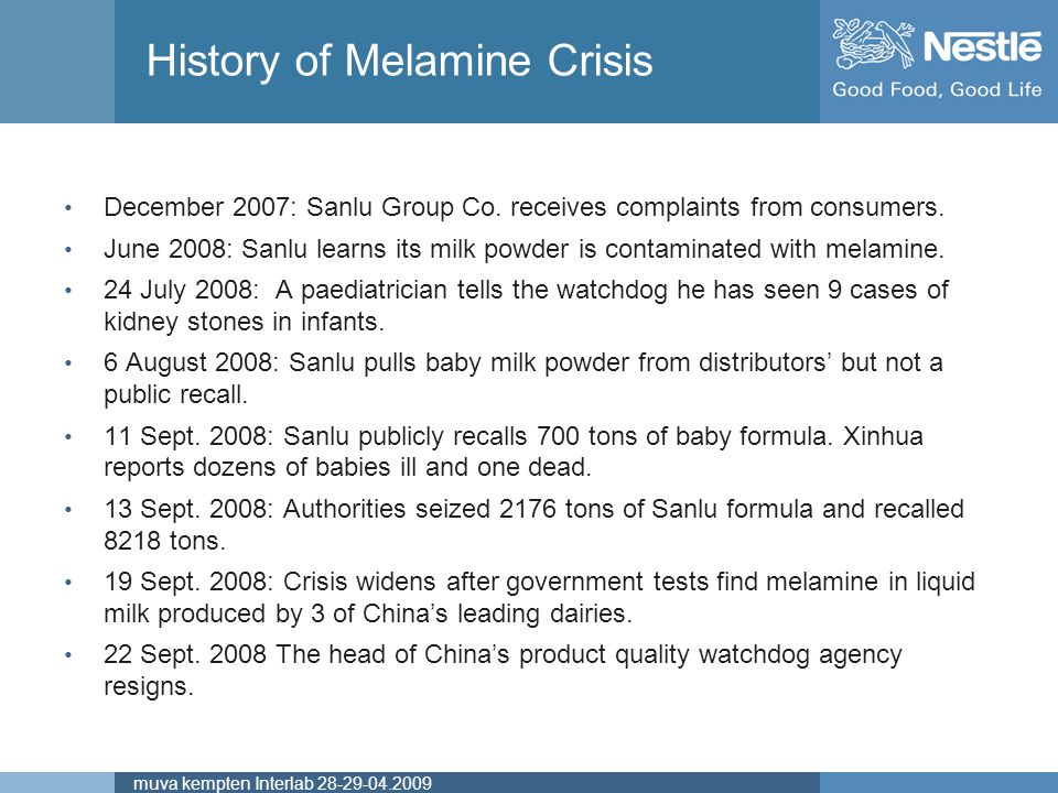 sanlu milk crisis Sanlu group and the tainted milk crisis case solution, in late summer 2008, a contaminated chinese milk and shocked the world was held lethal levels of melamine in infant formula sold in.