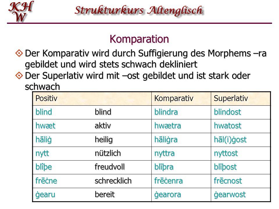 Komparation Der Komparativ wird durch Suffigierung des Morphems –ra gebildet und wird stets schwach dekliniert.
