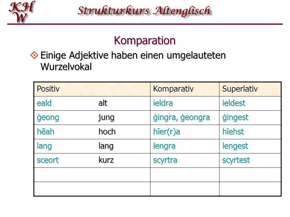 Komparation Einige Adjektive haben einen umgelauteten Wurzelvokal