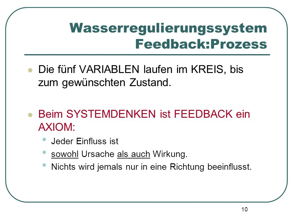 Wasserregulierungssystem Feedback:Prozess