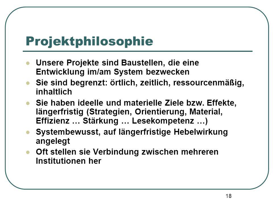 Projektphilosophie Unsere Projekte sind Baustellen, die eine Entwicklung im/am System bezwecken.