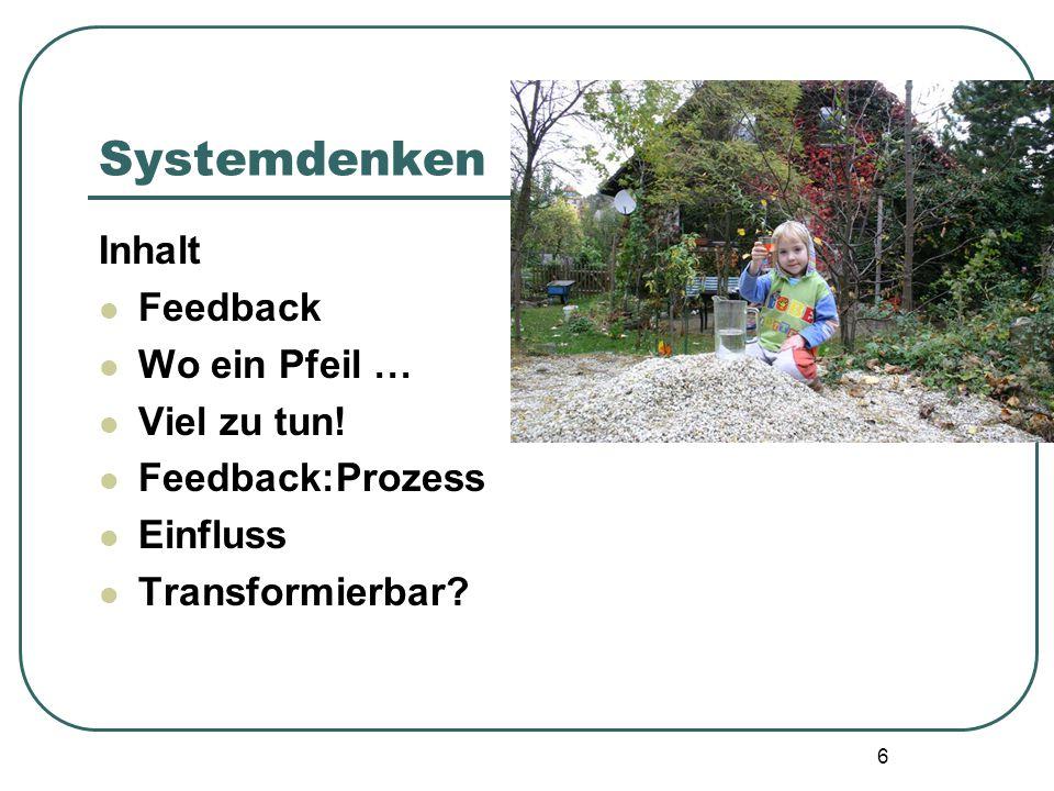 Systemdenken Inhalt Feedback Wo ein Pfeil … Viel zu tun!