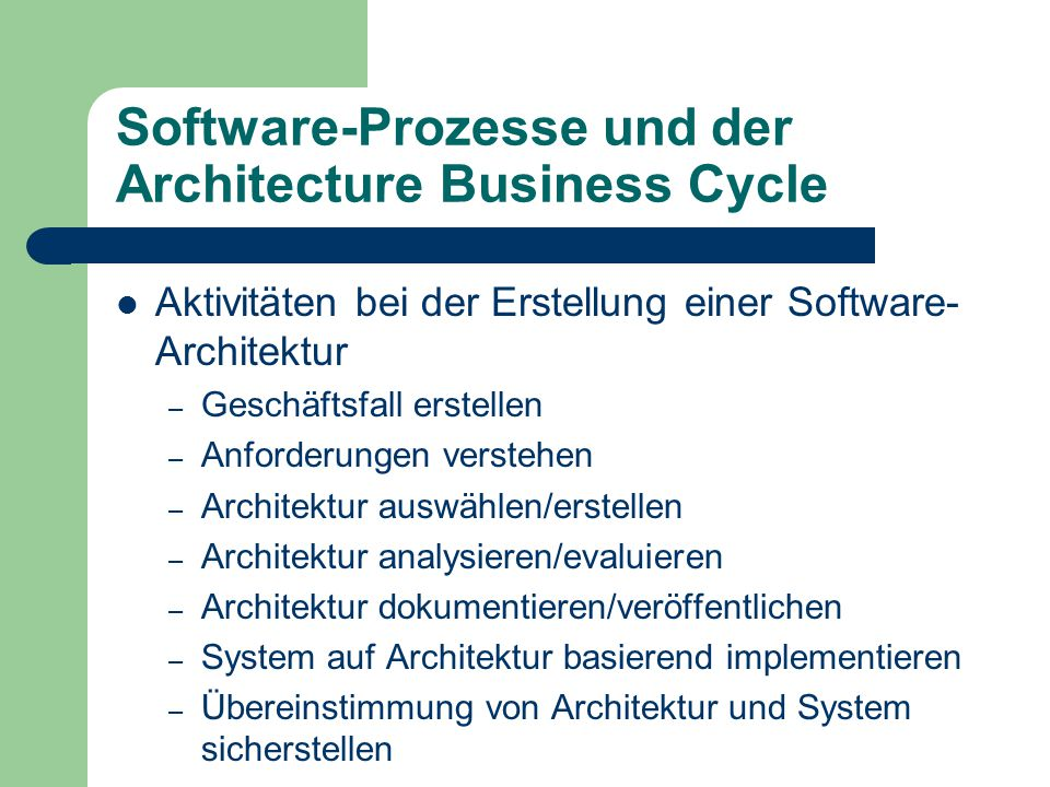 Software-Prozesse und der Architecture Business Cycle