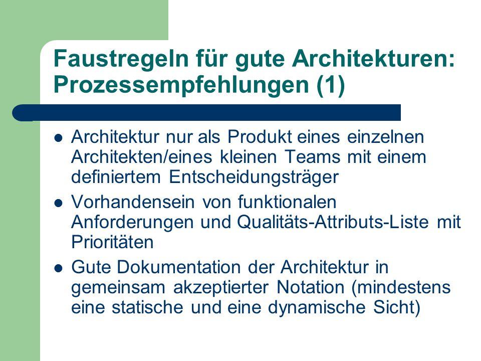 Faustregeln für gute Architekturen: Prozessempfehlungen (1)