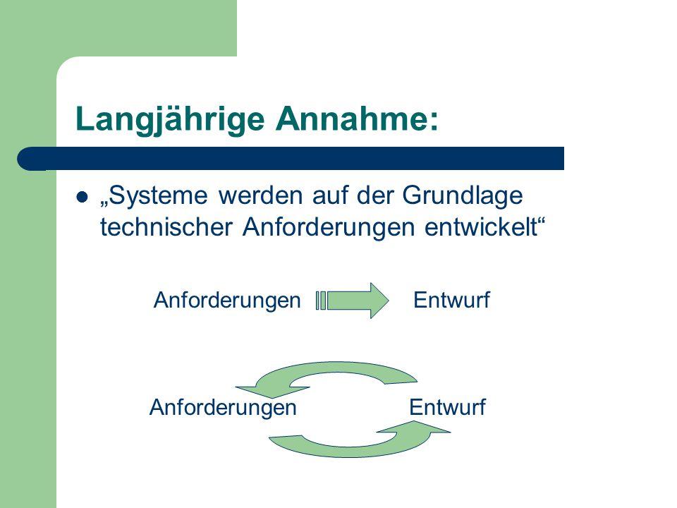 """Langjährige Annahme: """"Systeme werden auf der Grundlage technischer Anforderungen entwickelt Anforderungen."""