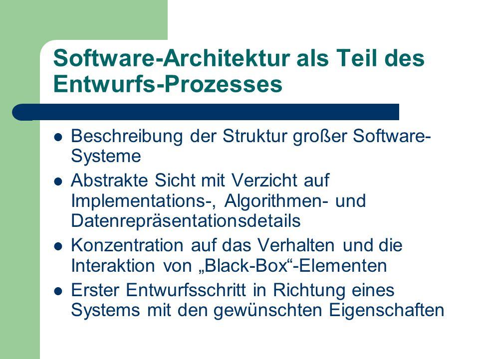 Software-Architektur als Teil des Entwurfs-Prozesses