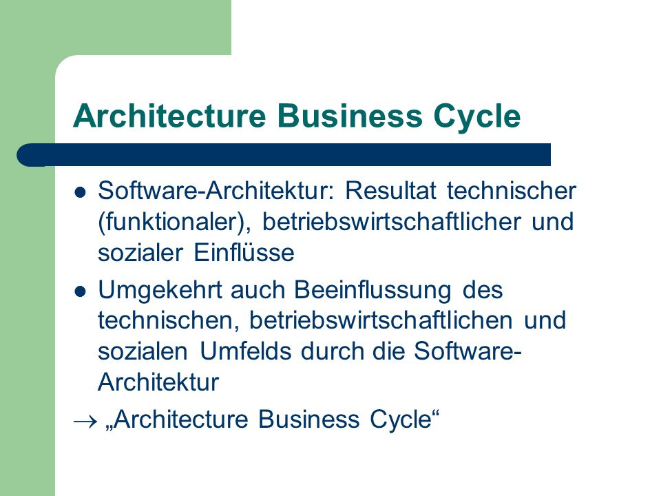 Architecture Business Cycle
