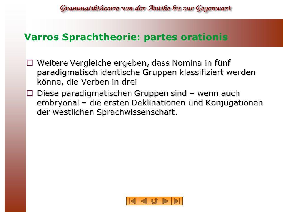 Varros Sprachtheorie: partes orationis