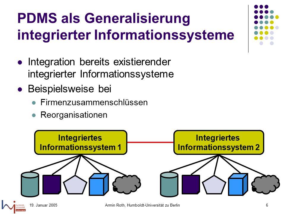 PDMS als Generalisierung integrierter Informationssysteme