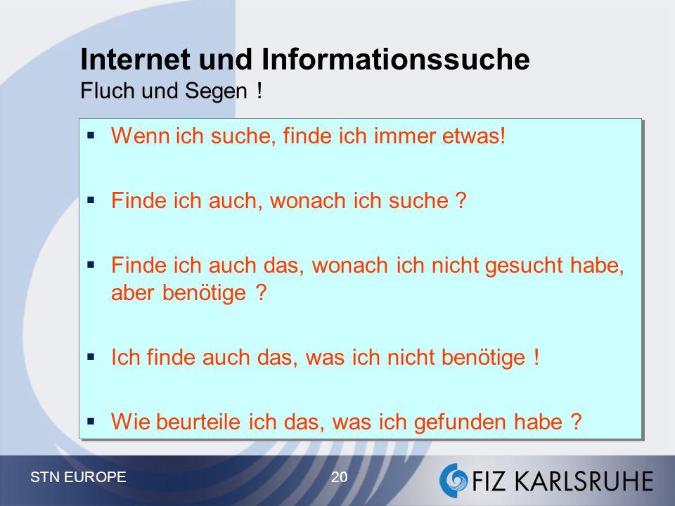 Internet und Informationssuche Fluch und Segen !