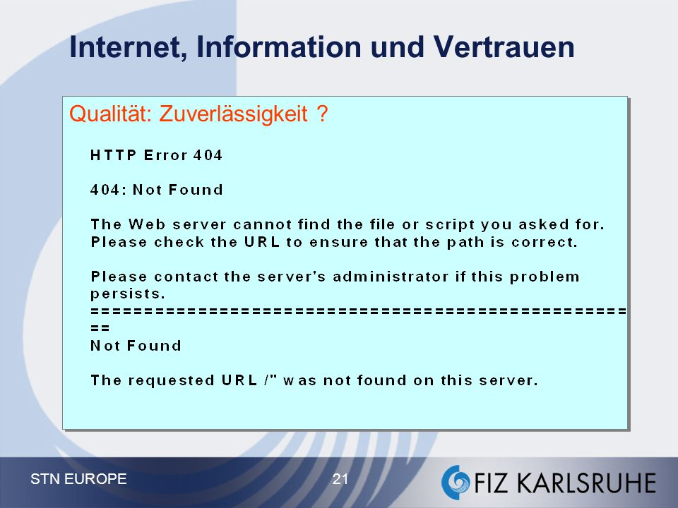 Internet, Information und Vertrauen